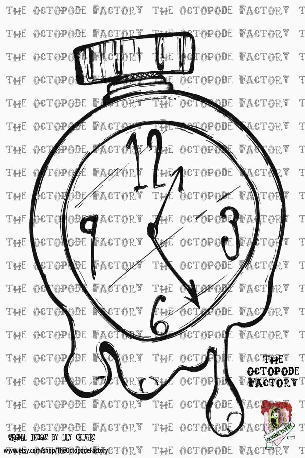 INSTANT DOWNLOAD Melting Clock digital stamp image