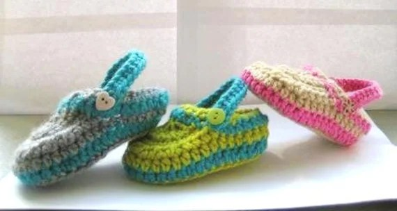 Supplies, Pattern, Crochet, Crochet Pattern  for Crochet Baby Slippers, Crochet Pattern for Boys or Girls Slippers