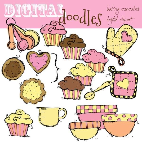 kpm baking cupcakes digital clipart