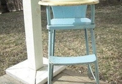 Vintage Metal Doll High Chair Pale Blue Amp Yellow By