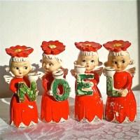 Christmas Angels Candle Holders Noel Poinsettias