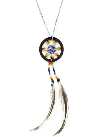 Items similar to Mohawk Rainbow Feather Dreamcatcher Chain