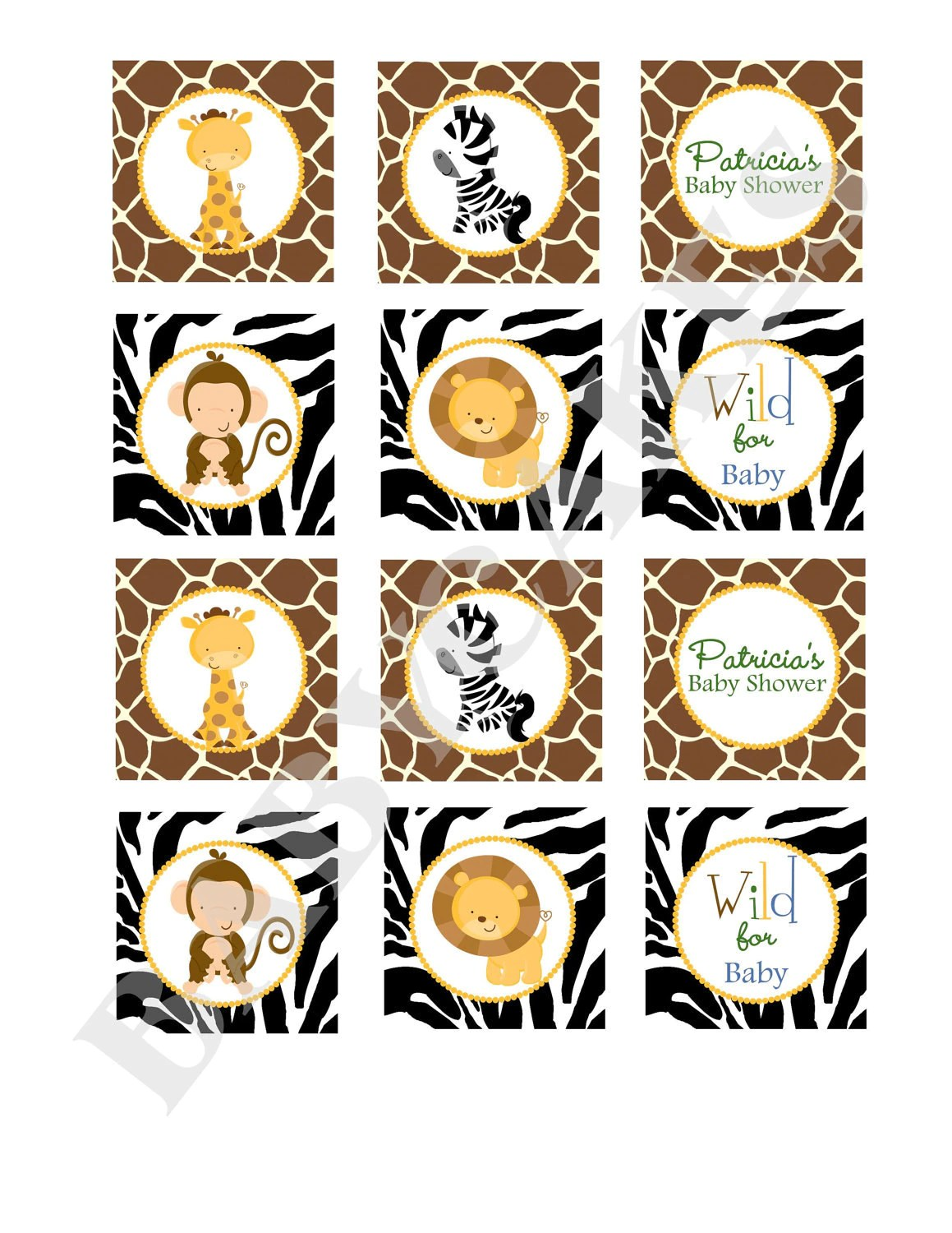 Safari Jungle Animals Cupcake Toppers Baby Shower By