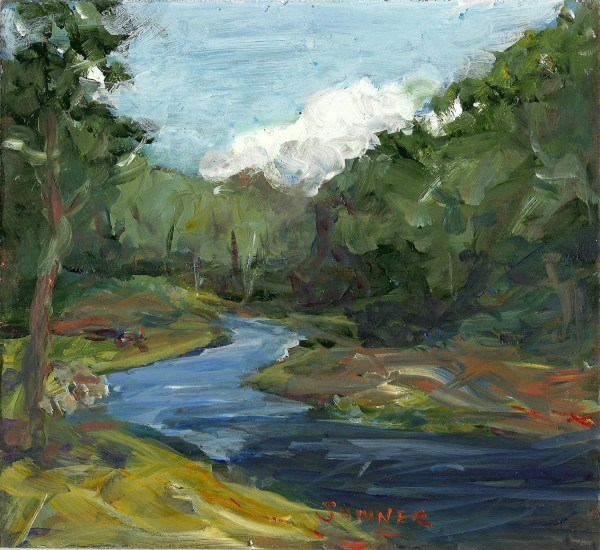 Original Acrylic Landscape Painting Late Summer River Clouds