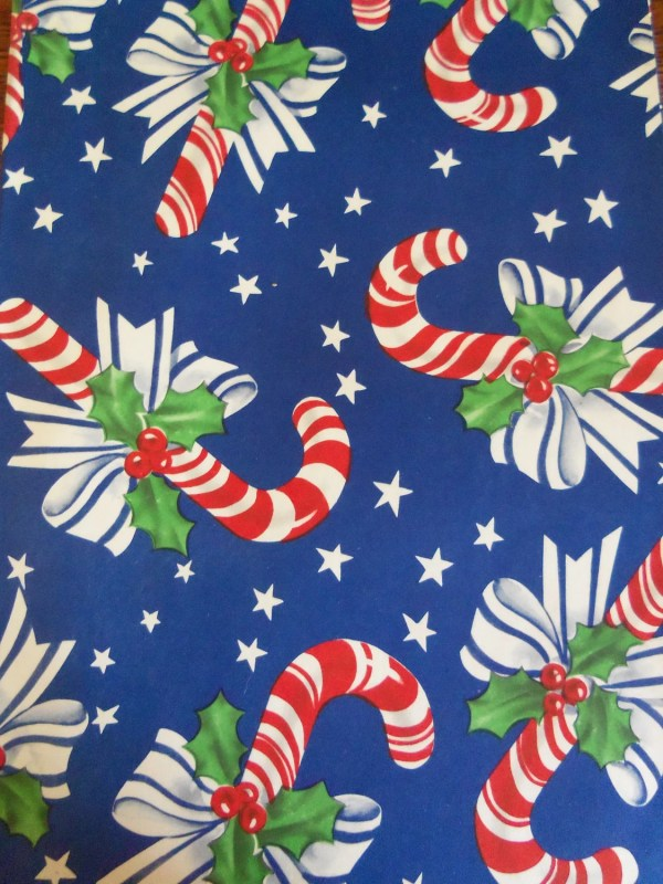 Vintage Christmas Wrapping Paper-1940' Candy Canes