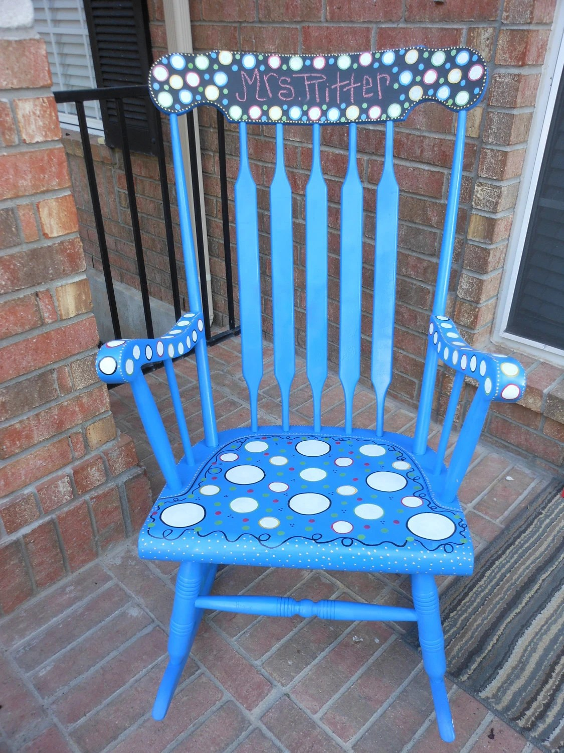 Teacher Chair Rocking Chair Antique And Painted Custom By Mrsstjohnsartcamp