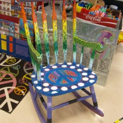 Teacher Rocking Chair Front Porch Chairs Peace Out Handpainted Reading