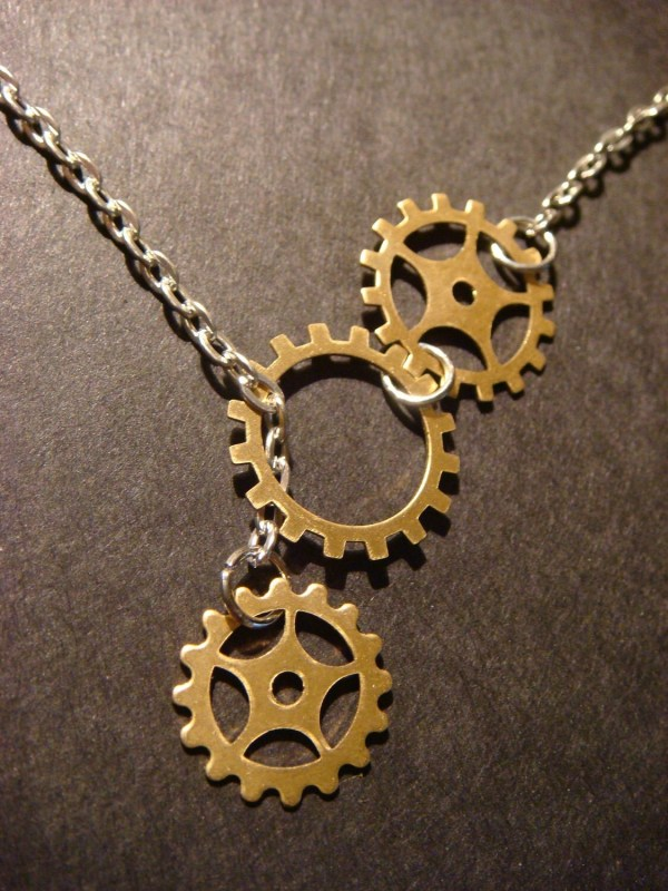 Steampunk Gear And Lariat Style Necklace