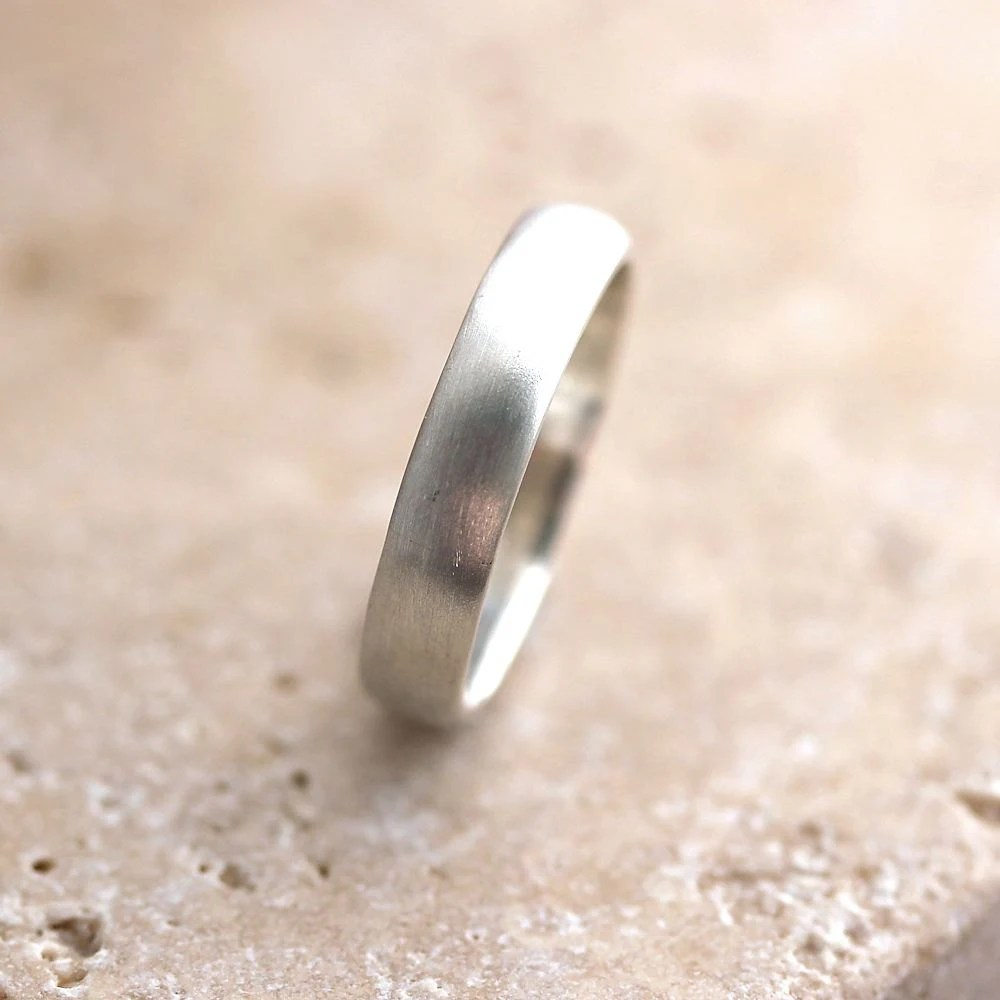 Silver Wedding Band Brushed Mens or Womens Unisex