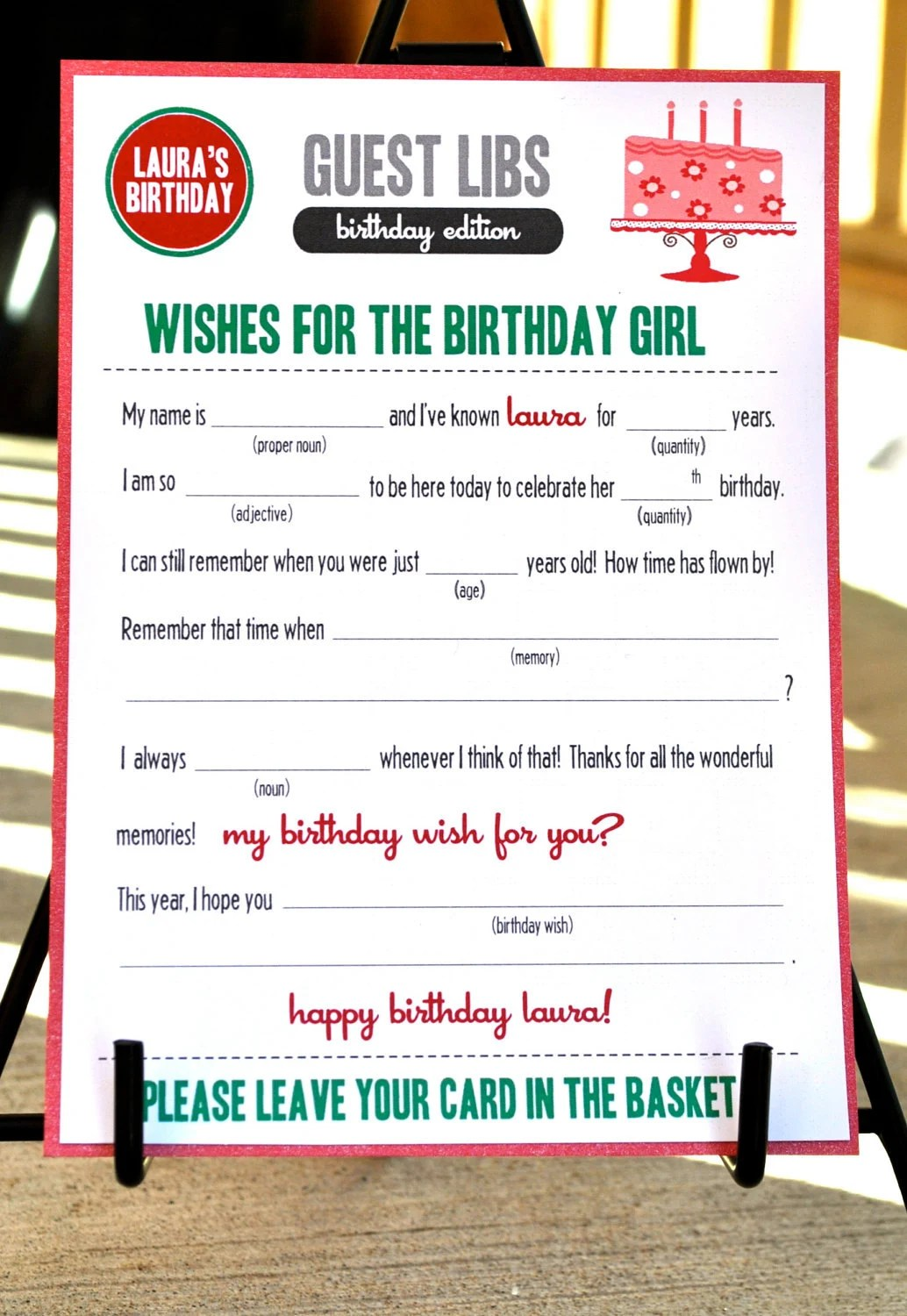 Mad Libs Birthday Edition Let S Eat Cake By Blushnotes