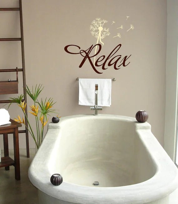 Relax with dandelion BathroomVinyl Lettering wall words