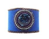 Bracelet, Blue Bead Embroidery Cuff - GirlBurkeStudios