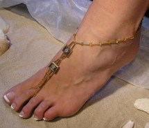 Crystal Barefoot Sandals Gold