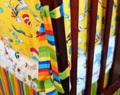Custom Baby Crib Bedding Set..Crib Bumper, Crib Skirt..Cat in the Hat / Dr. Seuss - LittleBurpsnGiggles