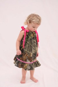 Baby girl camo dress Mossy oak hot pink pillowcase dress