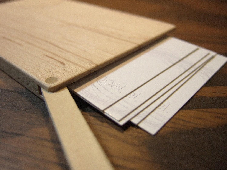 wood business card holder slim maple