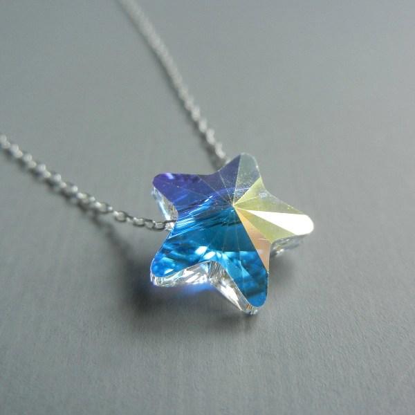 Little Iridescent Swarovski Star Necklace
