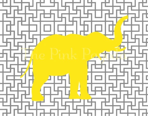 Yellow Elephant Silhouette on Gray Lattice Facing Right Giclee 11x14