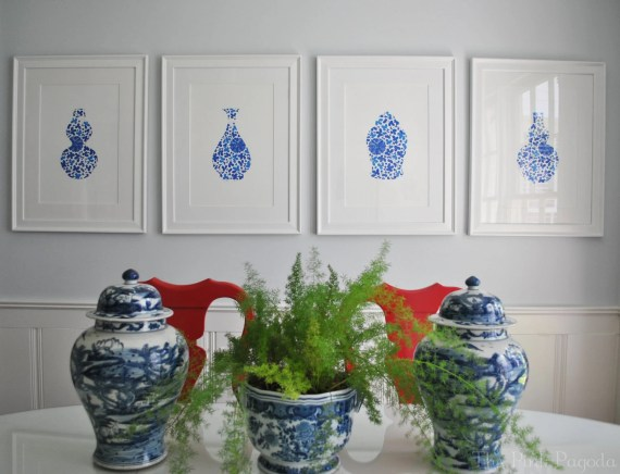 Blue and White Floral Chinoiserie Vase 4 11x14 Giclee
