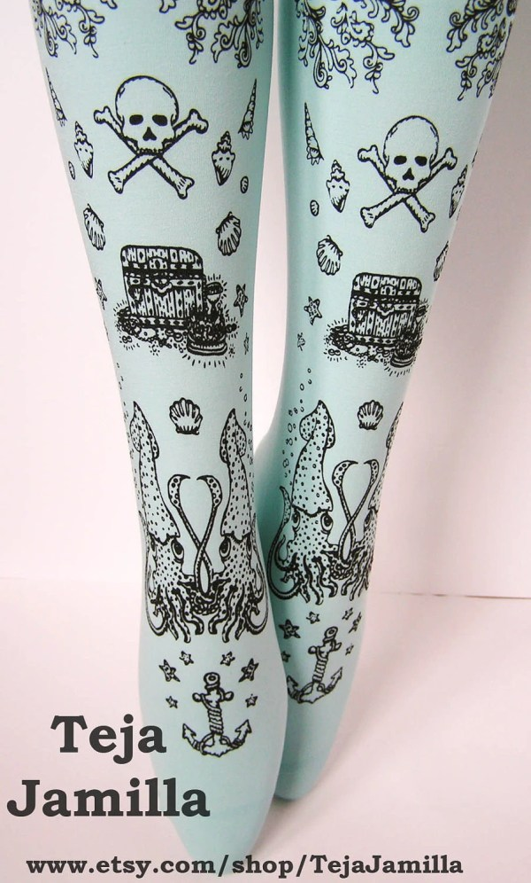 073ea276ea0 Pirate Printed Narwhal Tattoo Tights Small Black Pearl Duck