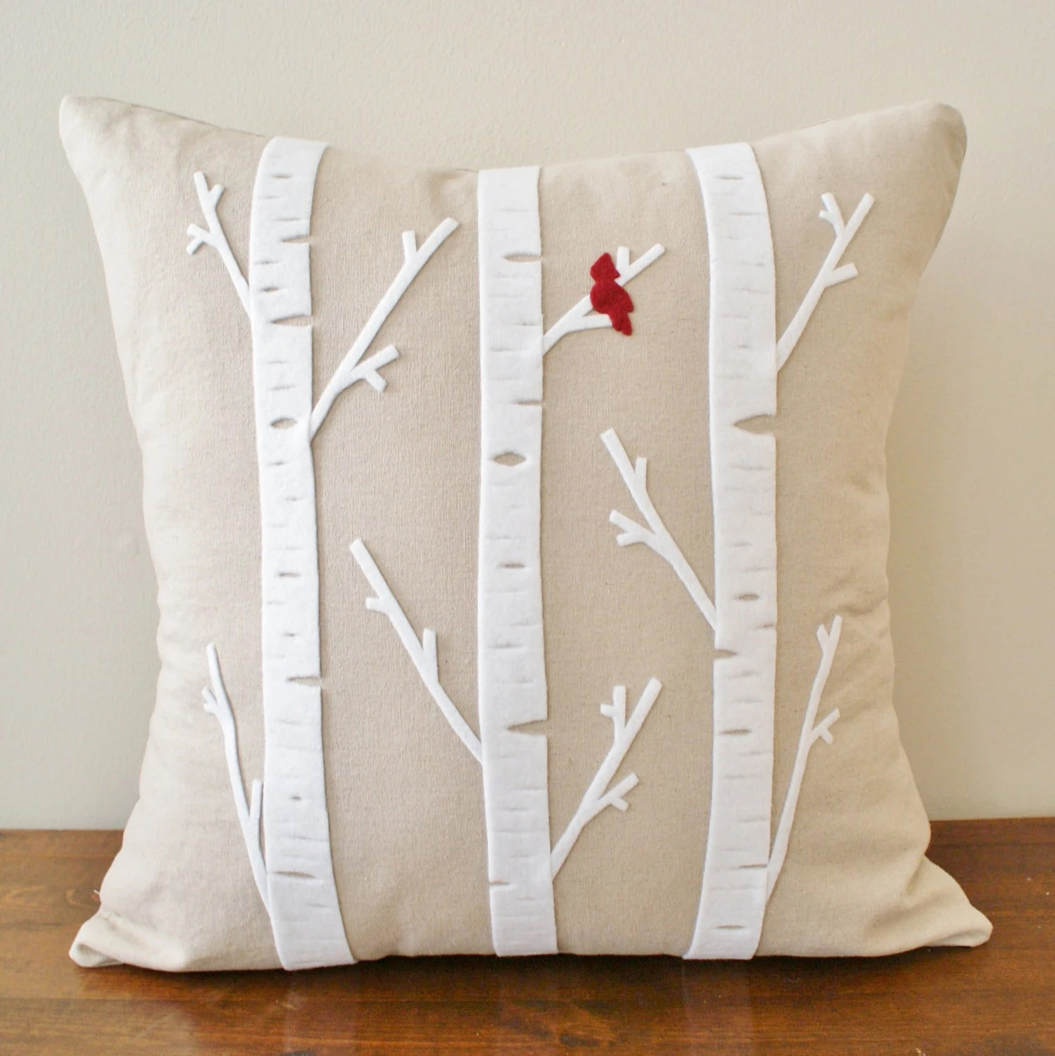 Birch Tree w/ Cardinal - Linen Cushion Cover - 18x18 - sarahsmiledesign
