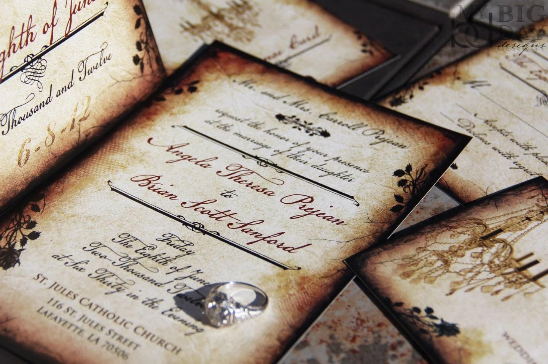 Vintage Romance wedding invitation set Parchment and rose