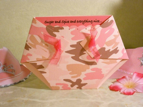 Pink Camo Diaper Shaped Baby Shower Invitations