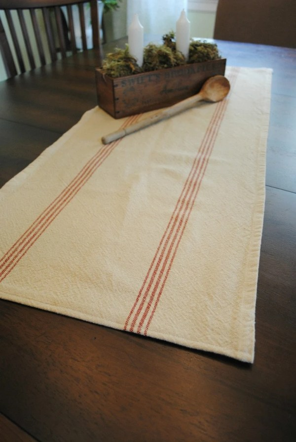 farmhouse table runner red stripe small