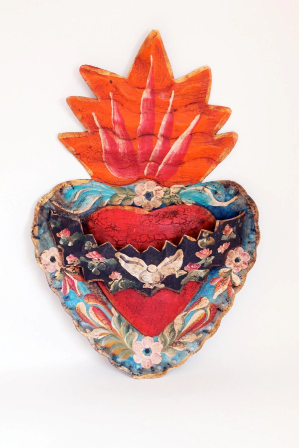Vintage Tin Sacred Heart Mexican Wall Art Multicolored