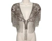 Beaded Sequin Shawl Art Deco Fringed Luxurious