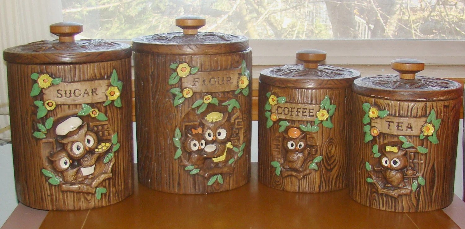 ceramic kitchen canisters wall tile ideas vintage owl treasure craft