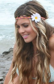 custom white daisy hippie headband