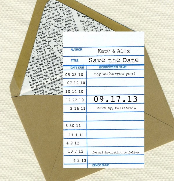 Library Card 1 Save the Date by ForewordPress on Etsy