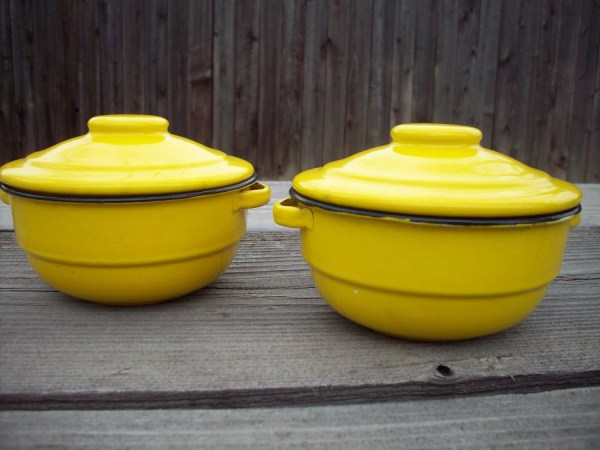 Set Of Yellow Enamelware Bowls With Lids