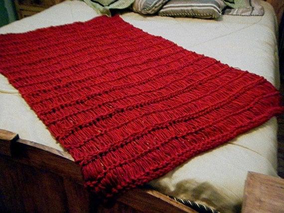 Knit Throw Blanket Dark Red Crimson Scarlet Ruby by