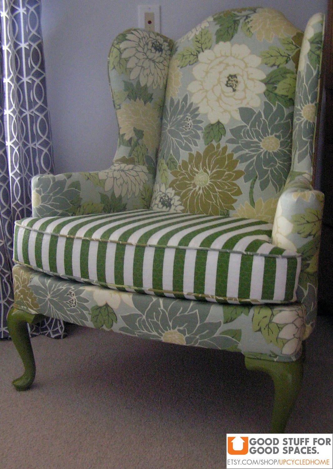 Vintage Wingback Chair Reupholstered in Flowered and Striped