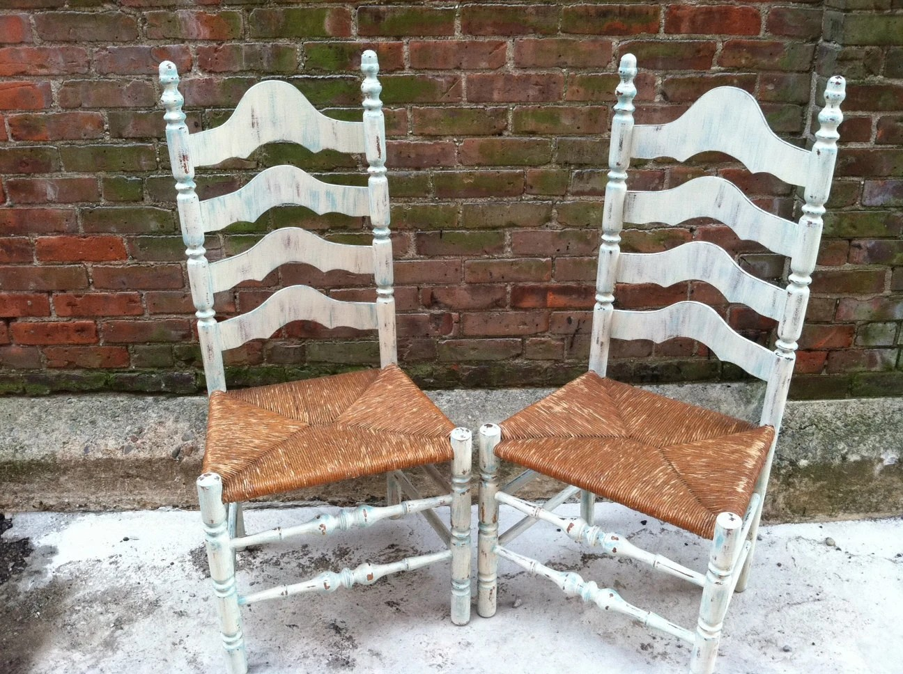 White Ladder Back Chair Painted Ladderback Chairs Farmhouse Beach Cottage Chic