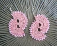 Items similar to Soft Pink Crocheted Double Fan Earrings ...