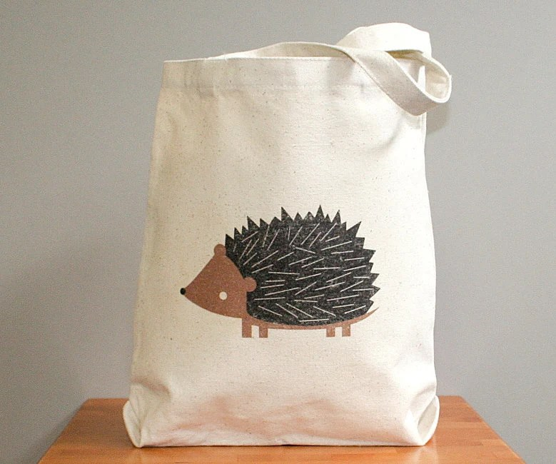 Canvas tote bag, hedgehog. Sturdy 100% 10oz. cotton canvas. - squarepaisleydesign