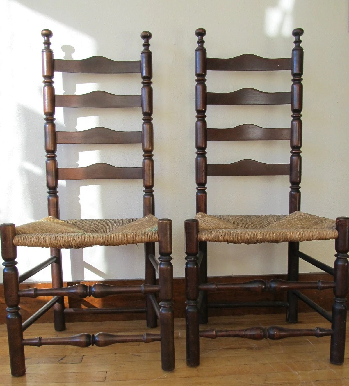 antique ladder back chairs with rush seats bathtub for elderly pair of