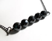 Black Faceted Rondelle Necklace - Glamour365