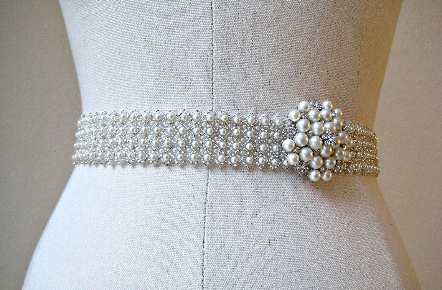 Bridal Beaded Czechoslovakia Ivory Pearl Sash. By IngenueB