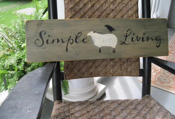 Country Primitive Wooden Sign Simple Living Sheep