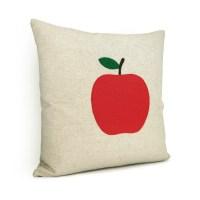 Natural beige pillow cover with a felt apple applique