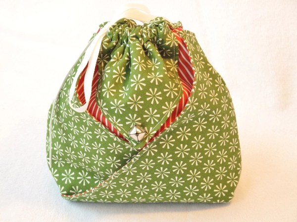 Origami Fabric Gift Bag Green Snowflake Wrap It Up