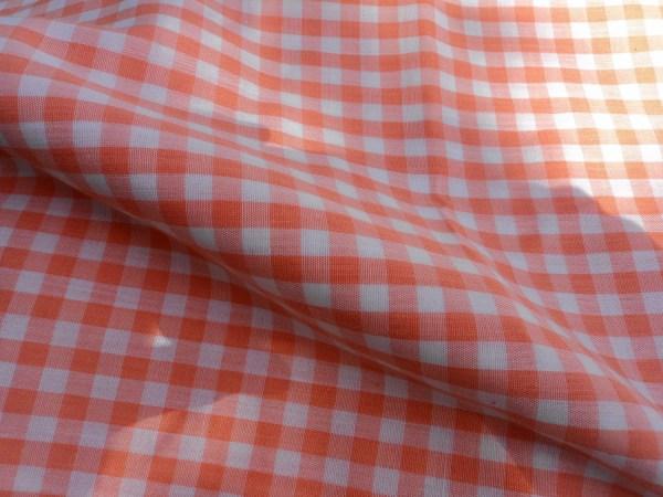 Peach Gingham Orange Checkerboard Plaid Cotton Fabric