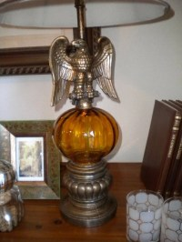 Vintage Eagle Lamp with Amber Globe and New Shade