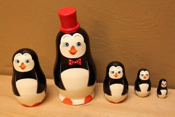 Penguin Nesting Dolls Animal Doll Set Of 5 Matryoshka Babushka