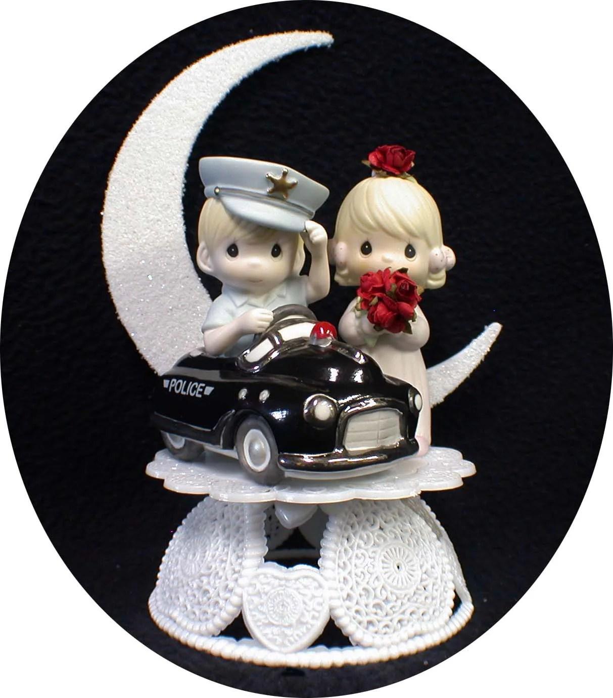 POLICE car Wedding CAKE TOPPER Policeman w Precious Moments