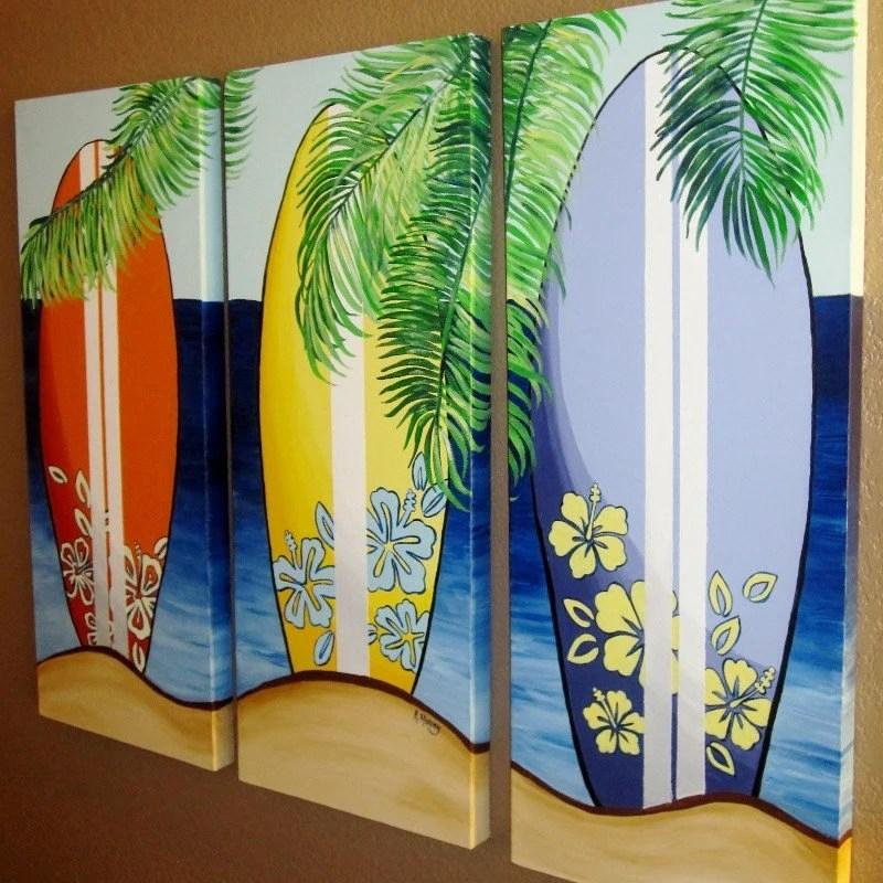 Items similar to Surfboard Canvas Art  Hawaiian Beach